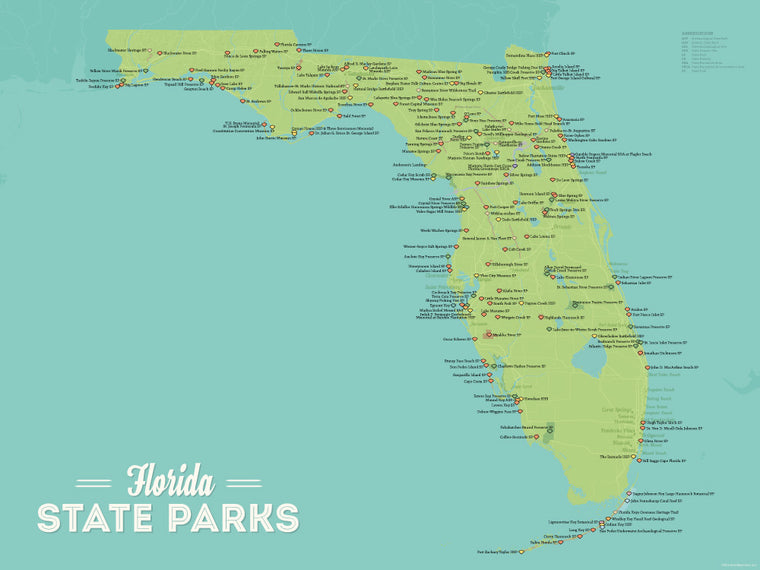 Florida State Parks Map Poster - green & aqua