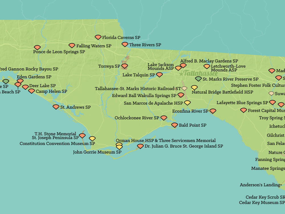 Florida State Parks Map 18x24 Poster Best Maps Ever