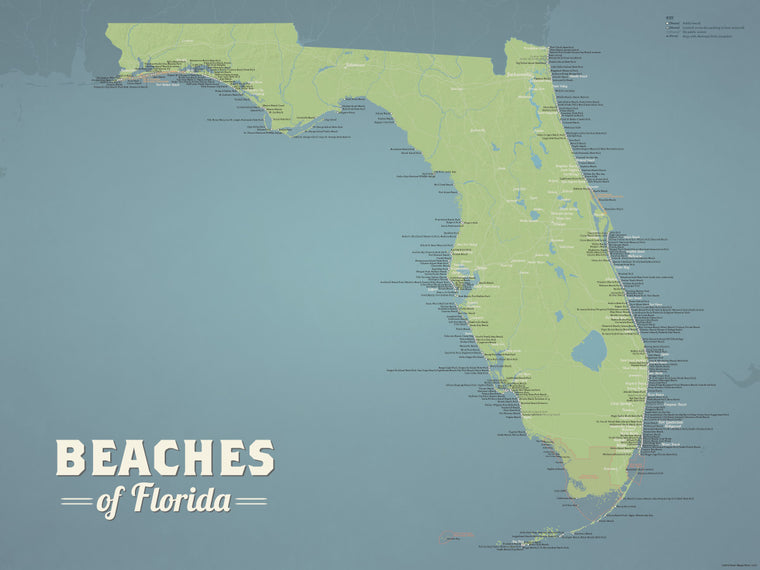 Florida Beaches Map Poster - natural earth