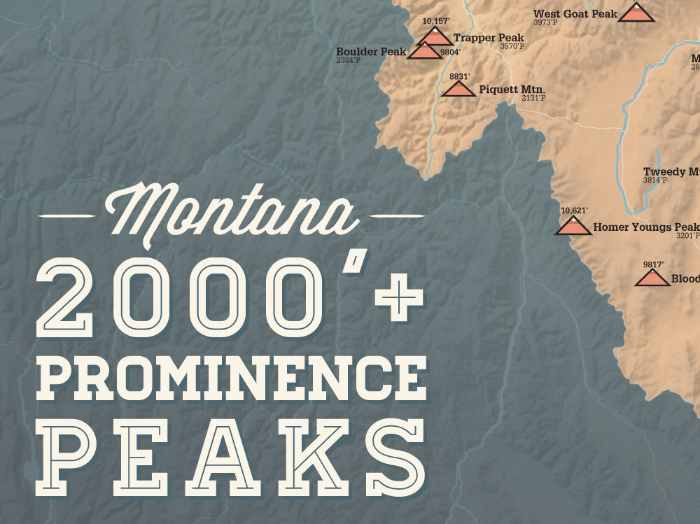 Montana Prominent 2000' Prominence Peaks Map Poster - camel & slate blue