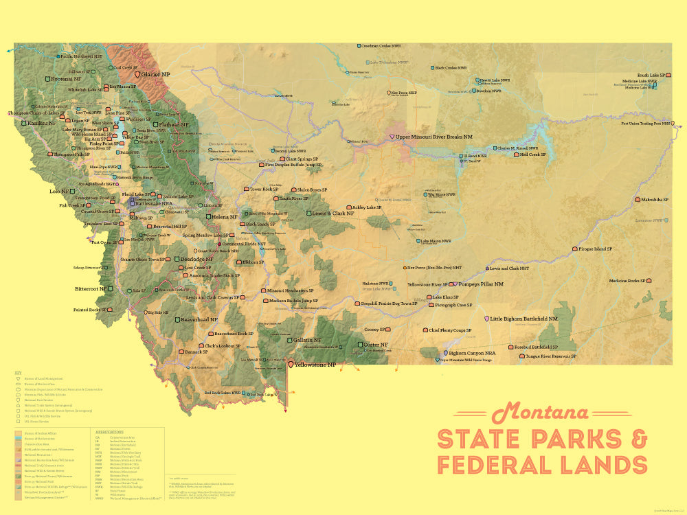 Montana State Parks & Federal Lands Map 18x24 Poster