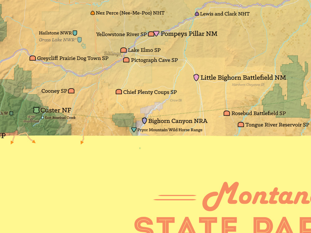 Montana State Parks & Federal Lands Map Poster - camel & yellow