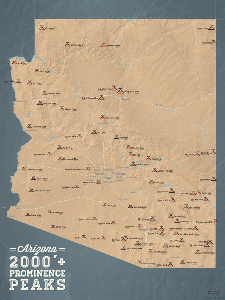 Arizona Prominent 2000' Prominence Peaks Map Poster - camel & slate blue