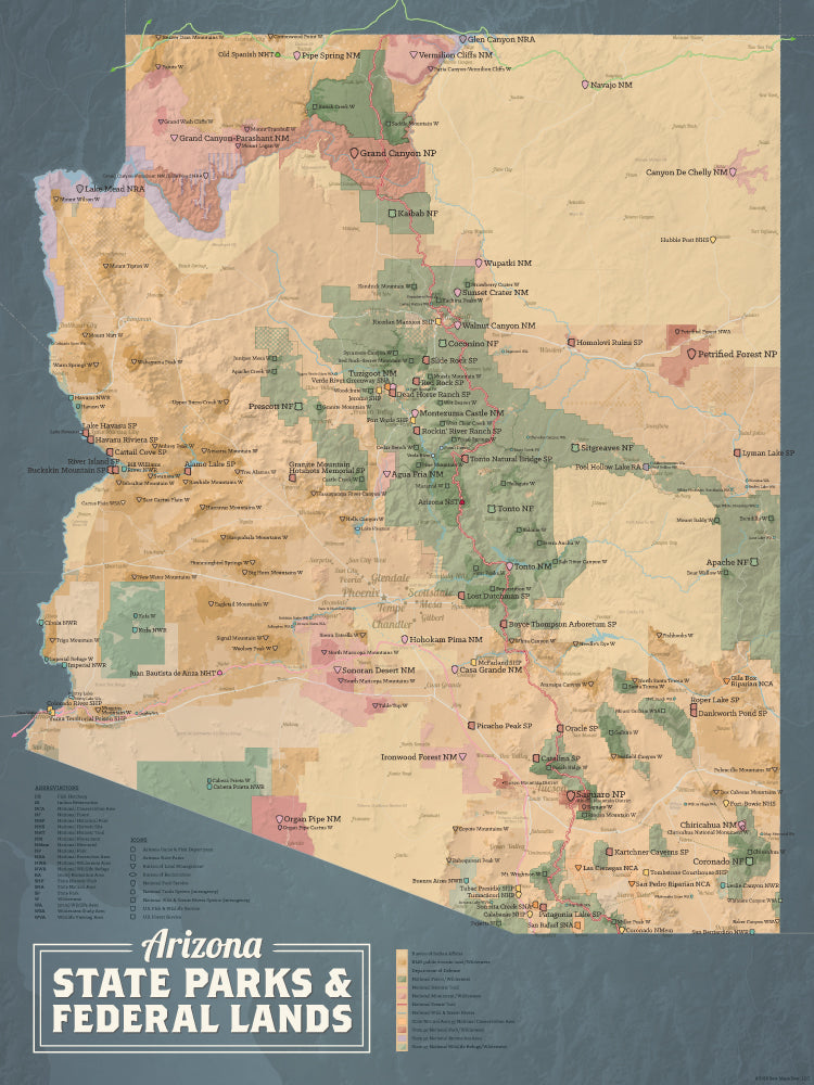Arizona State Parks & Federal Lands map poster - camel & slate blue