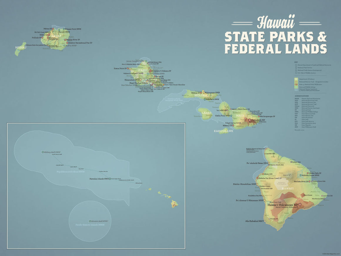 Hawaii State Parks & Federal Lands Map Poster - natural earth
