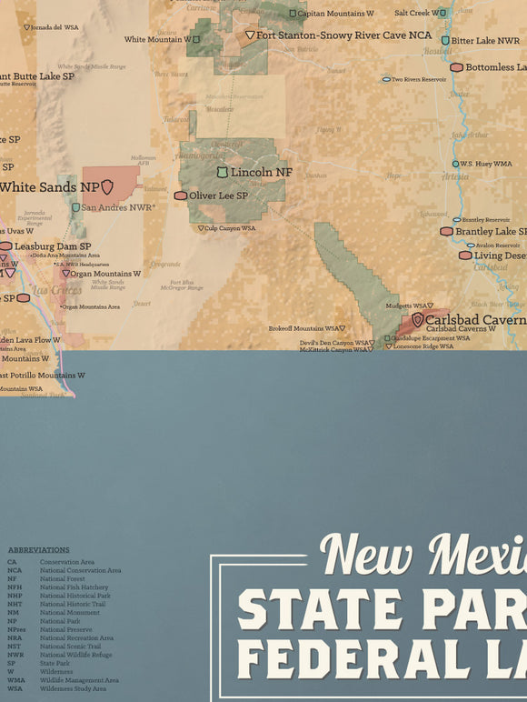 New Mexico State Parks & Federal Lands map poster - camel & slate blue