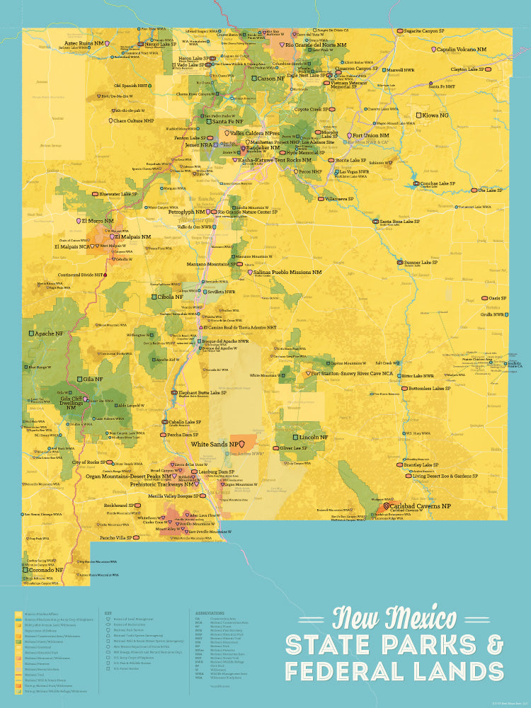 New Mexico State Parks & Federal Lands map poster - marigold & turquoise