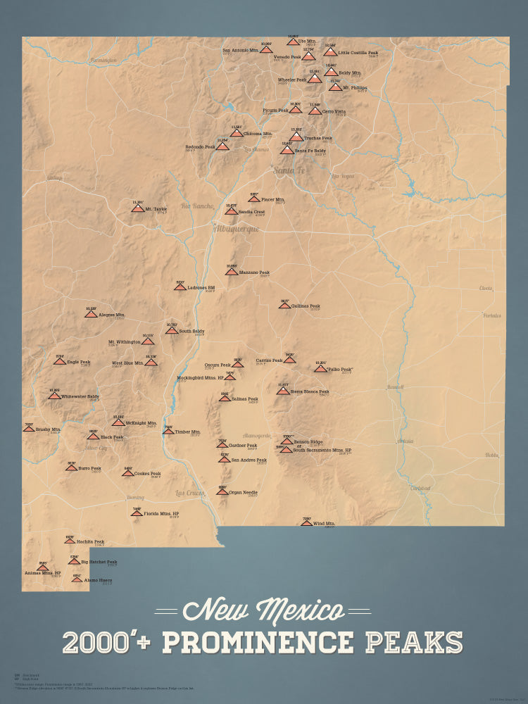New Mexico Prominent 2000' Prominence Peaks Map Poster - camel & slate blue