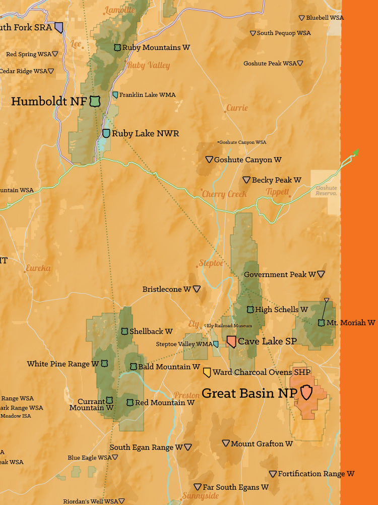 Nevada State Parks & Federal Lands map poster - cream & orange