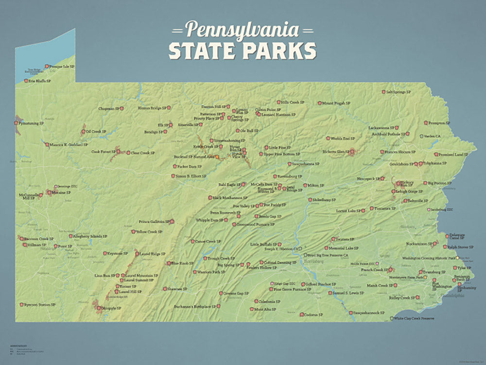 Pennsylvania State Parks Map Poster - natural earth