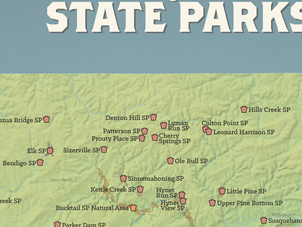 Pennsylvania State Parks Map 18x24 Poster - Best Maps Ever