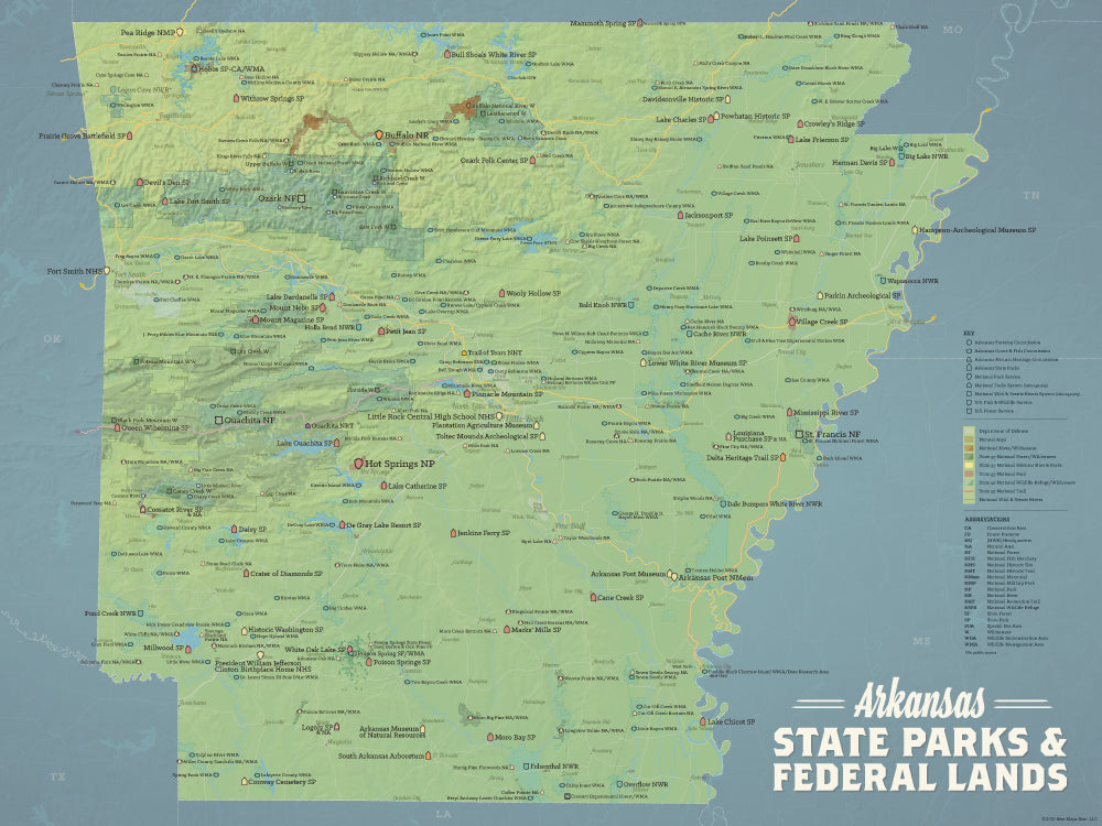 Arkansas State Parks & Federal Lands Map Poster - natural earth