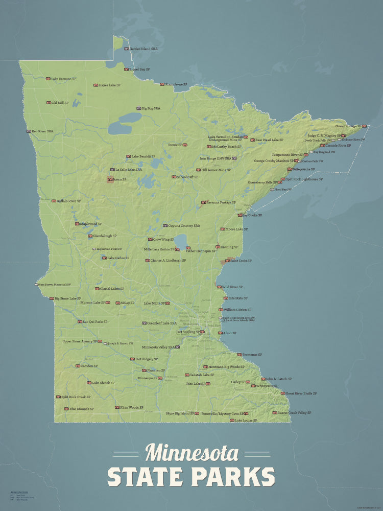 Minnesota State Parks Map Checklist Poster - natural earth