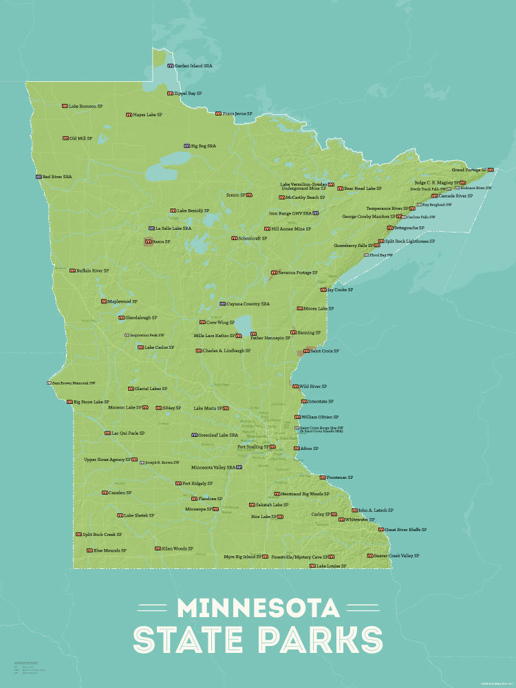 Minnesota State Parks Map Checklist Poster - green & aqua