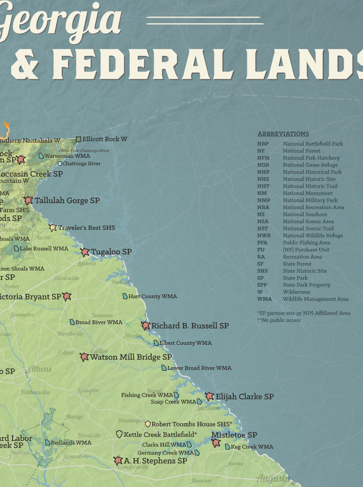 Georgia State Parks & Federal Lands Map Poster - natural earth