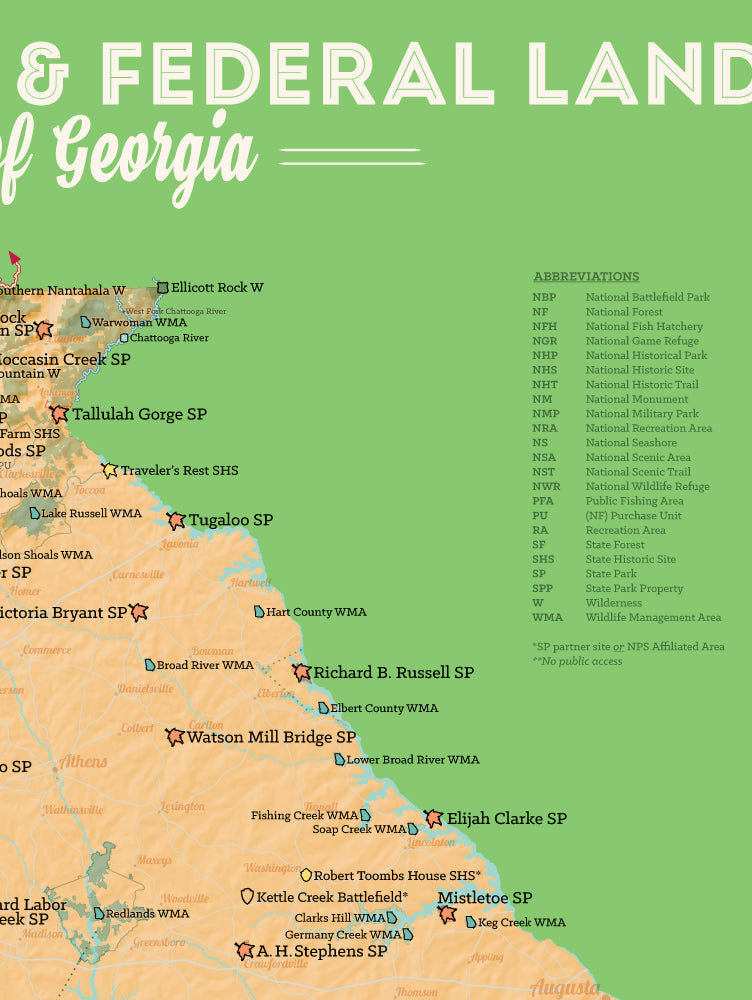 Georgia State Parks & Federal Lands Map Poster - peach & green