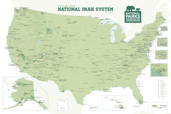 NPCA National Park System Map Poster - Sage & White
