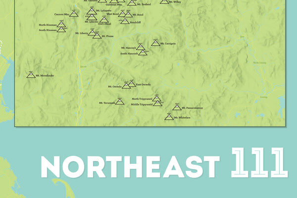 Northeast 111 4000 Footers Map Poster - green & aqua
