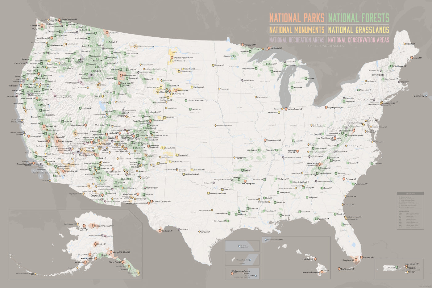 US National Parks Monuments Forests Map X Poster Best - Gray us map