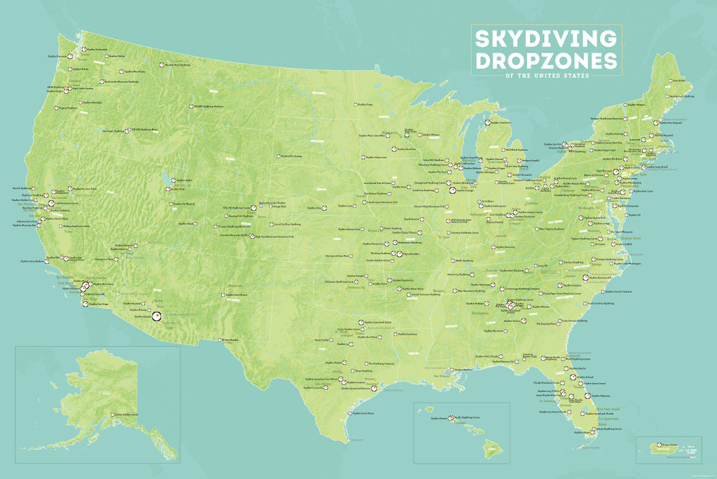 USA Skydiving Dropzones Map Poster - green & aqua