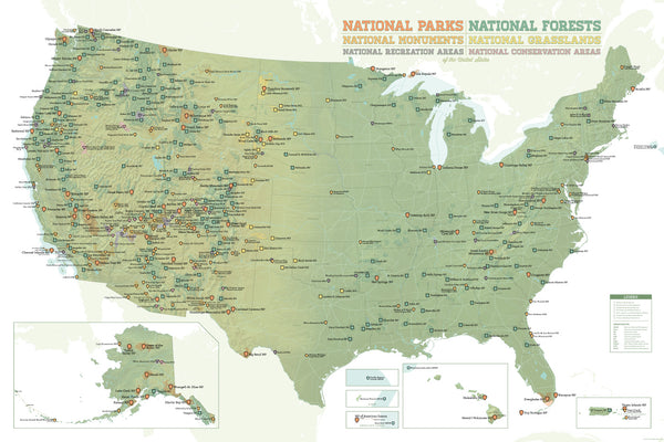 US National Parks, National Monuments & National Forests Map Poster - green & white