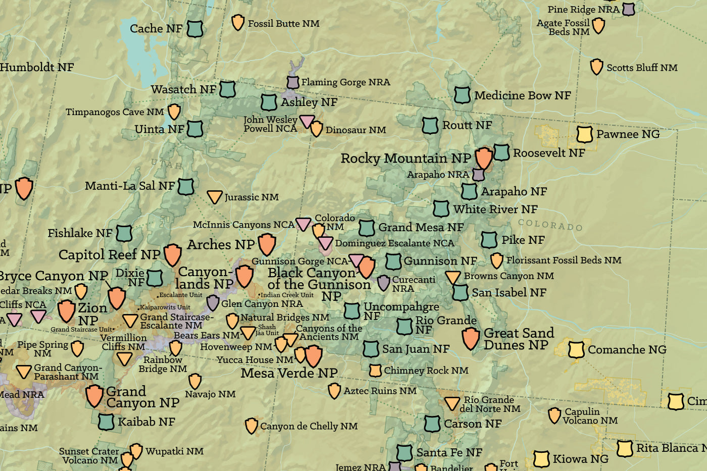 US National Parks, Monuments & Forests Map 24x36 Poster - Best Maps Ever