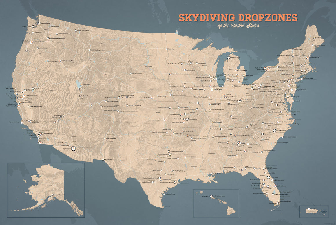 USA Skydiving Dropzones Map Poster - tan & slate blue