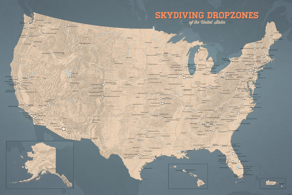 Best Ski Resorts In California >> US Skydiving Dropzones Map 24x36 Poster - Best Maps Ever