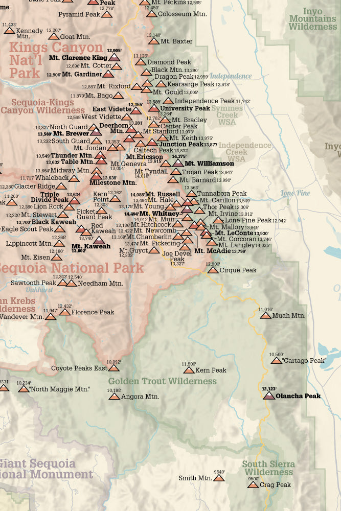 Sierra Peaks Section Climbers' Checklist Map 24x36 Poster