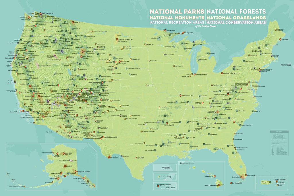 US National Parks, National Monuments & National Forests Map Poster - green & aqua