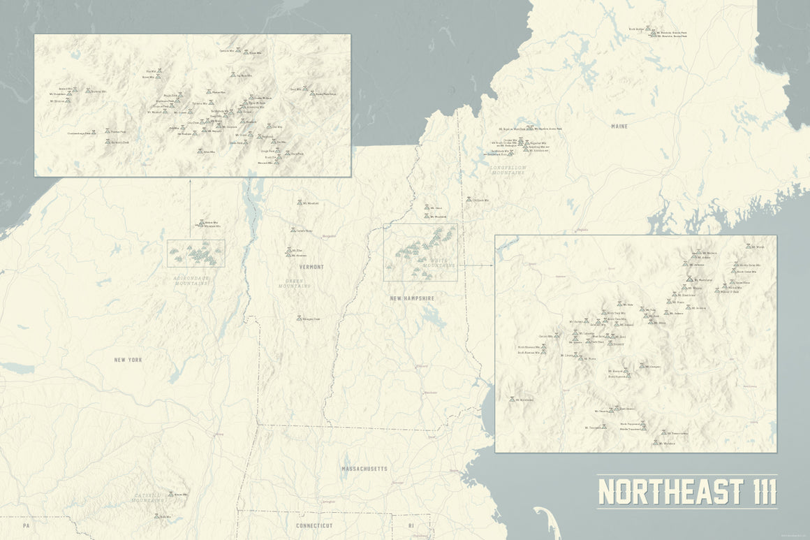 Northeast 111 4000 Footers Map Poster - beige & slate