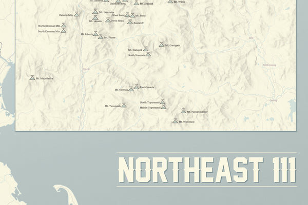 Northeast 111 4000 Footers Map 24x36 Poster