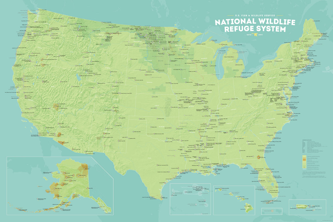US National Wildlife Refuge System map poster - green & aqua