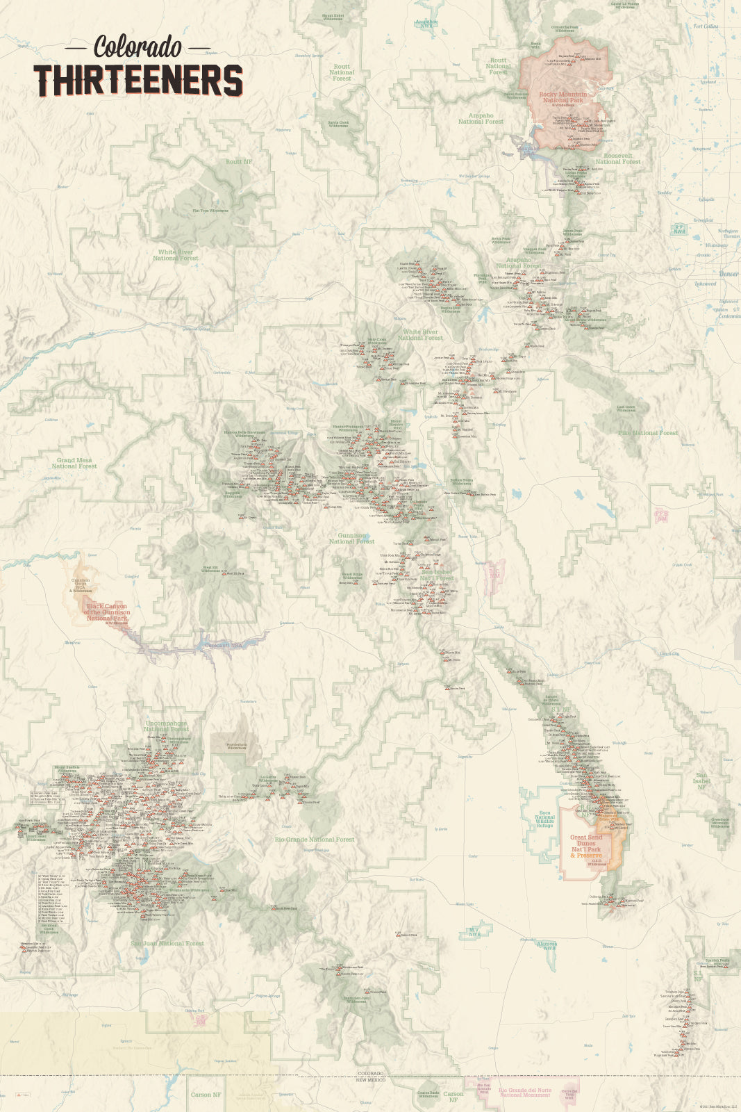Colorado 13ers Map Poster - tan