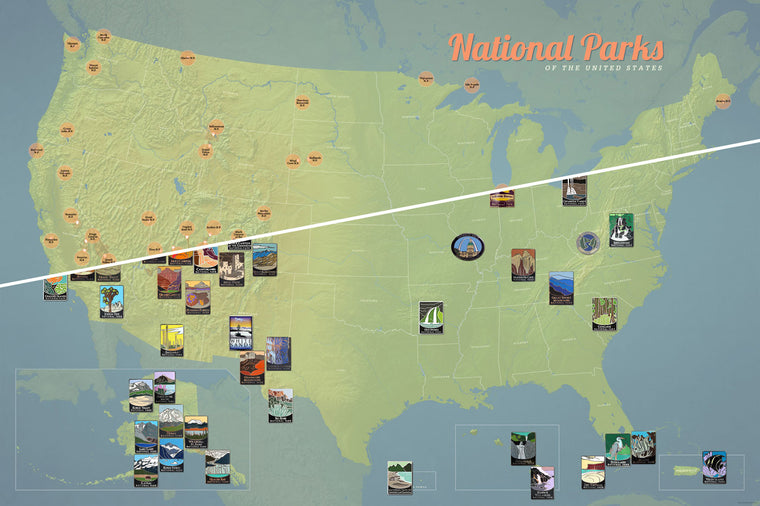 USA National Park Collector Pins map poster - natural earth