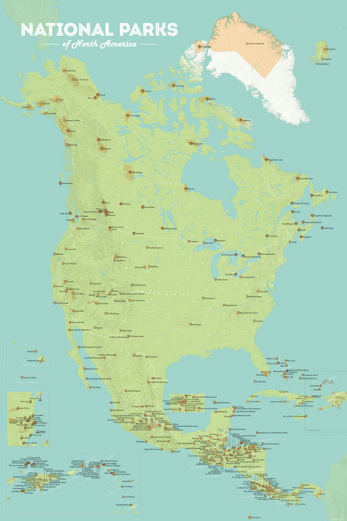 North America National Parks map poster - green & aqua