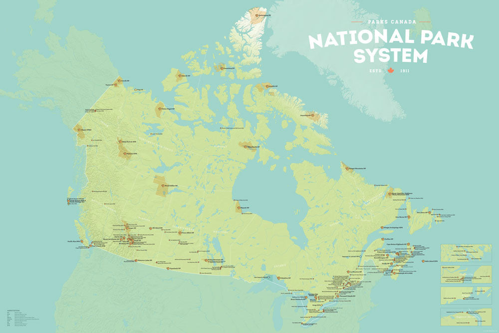 Canada National Park System Map 24x36 Poster - Best Maps Ever