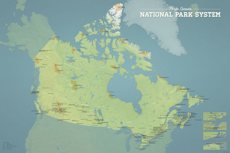 Canada National Park System map poster - natural earth