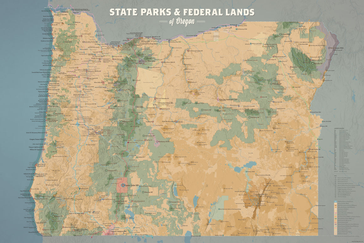 Oregon State Parks & Federal Lands Map Poster - camel & slate blue