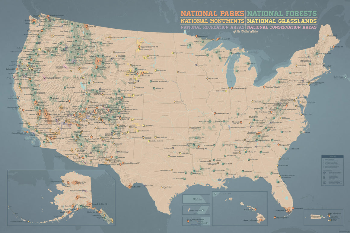 US National Parks, National Monuments & National Forests Map Poster - tan & slate blue