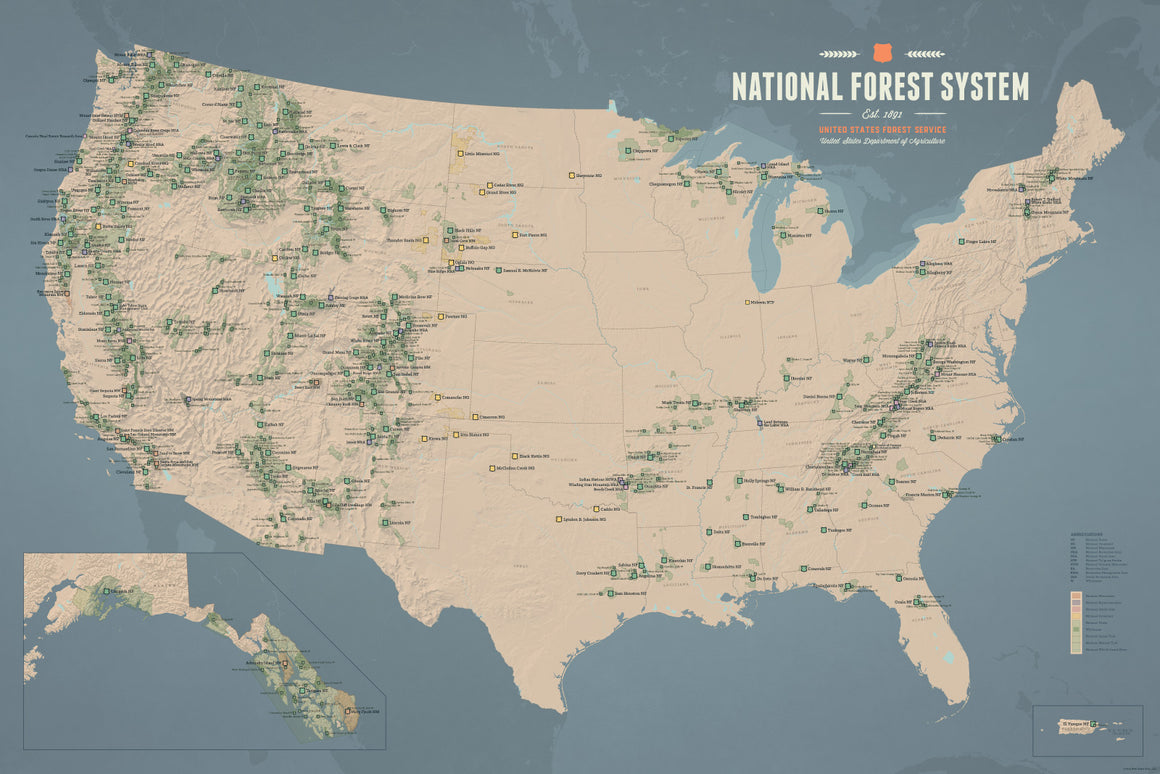 USA National Forest System Map Poster - tan & slate blue