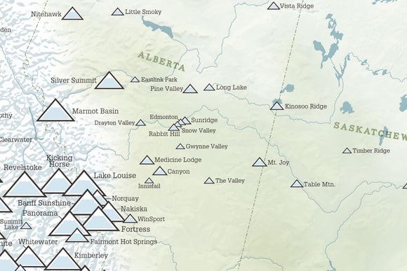 Canada Ski Areas Resorts Map Poster - natural earth