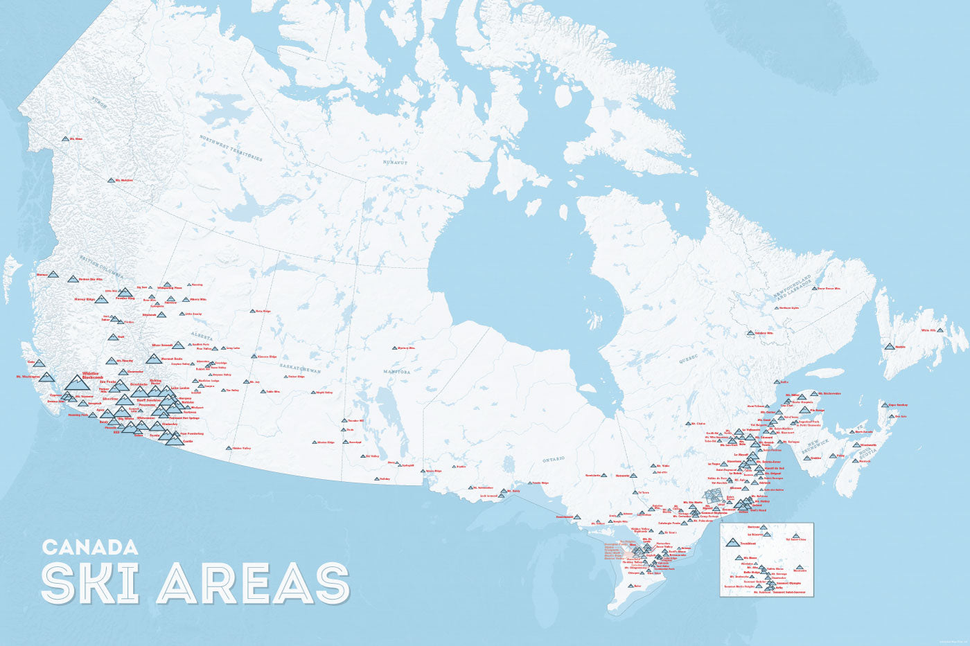 Canada Skiing Resorts Map Canada Ski Resorts Map 24x36 Poster   Best Maps Ever