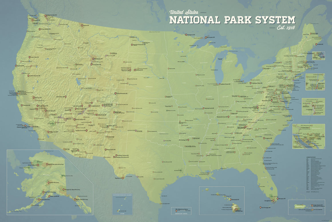 USA National Park System Units Map Poster - Natural Earth