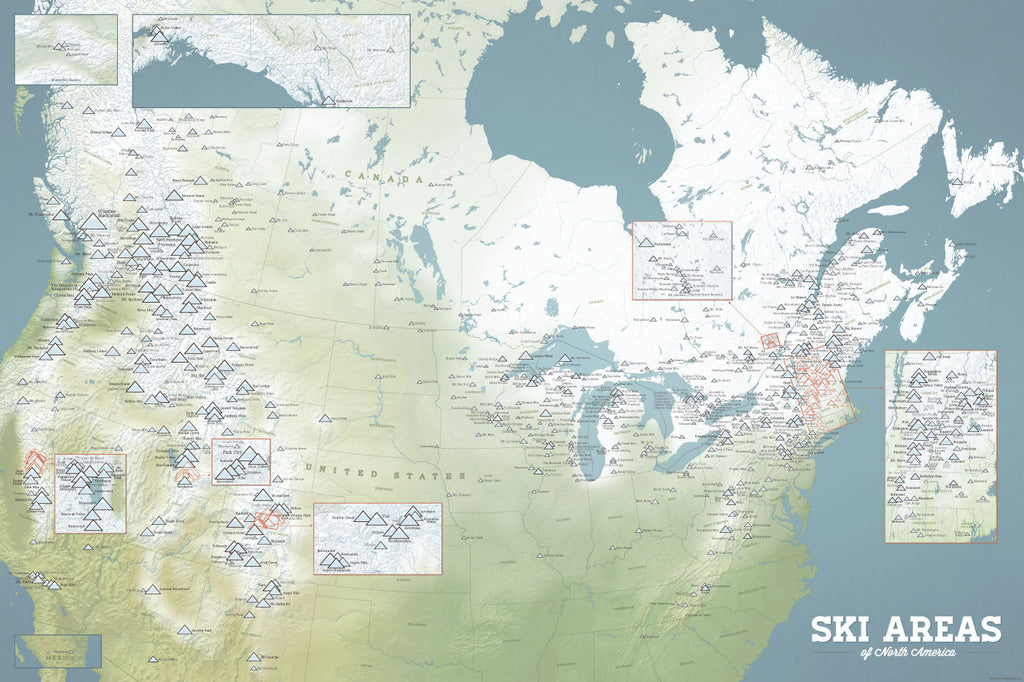 North America Ski Areas Resorts map poster - natural earth