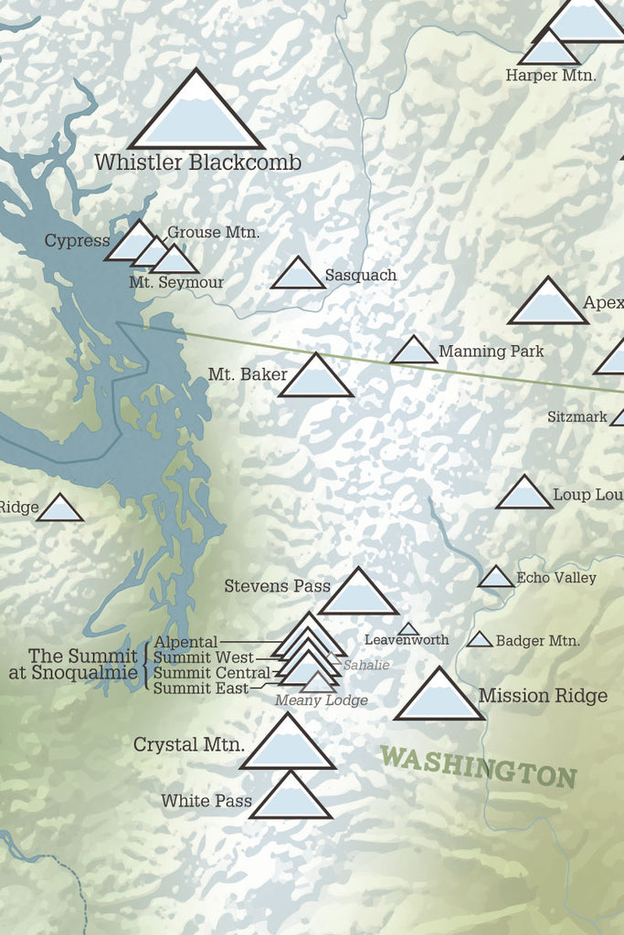 Western Ski Areas Resorts of the West Map Poster - natural earth