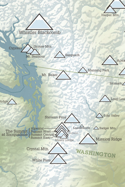 West Ski Areas Map Poster - natural earth