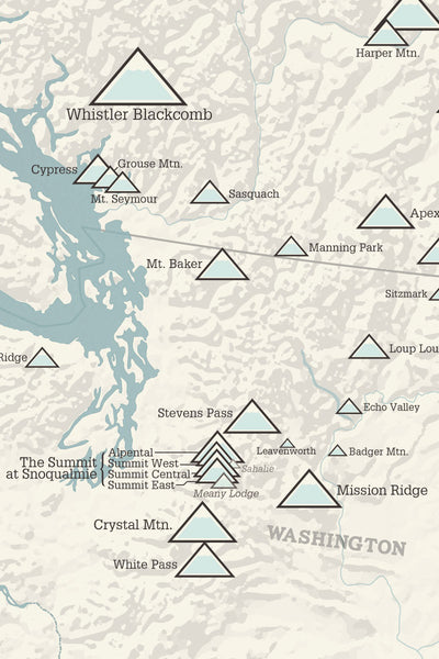 Western Ski Resorts Map Poster - beige & opal blue