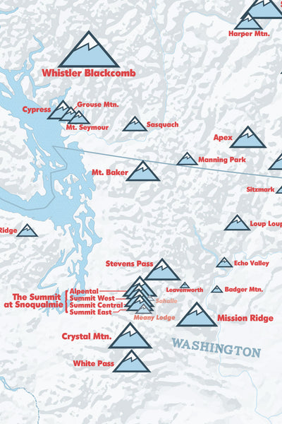 Ski Areas of the West Map Poster - white & light blue
