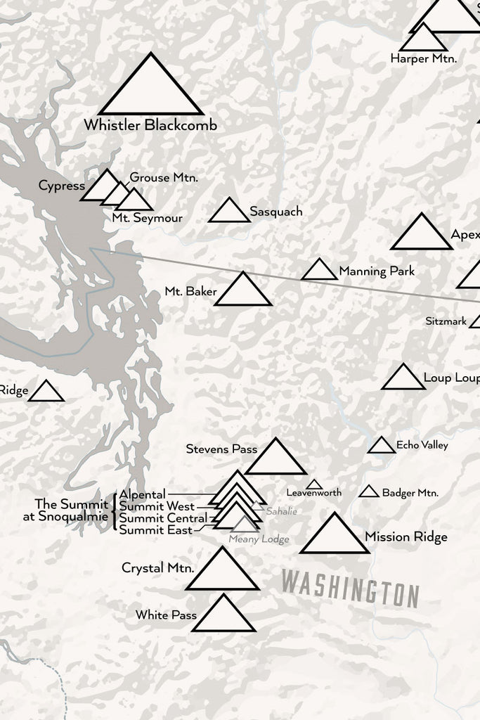Western Ski Areas Resorts of the West Map Poster - white & gray